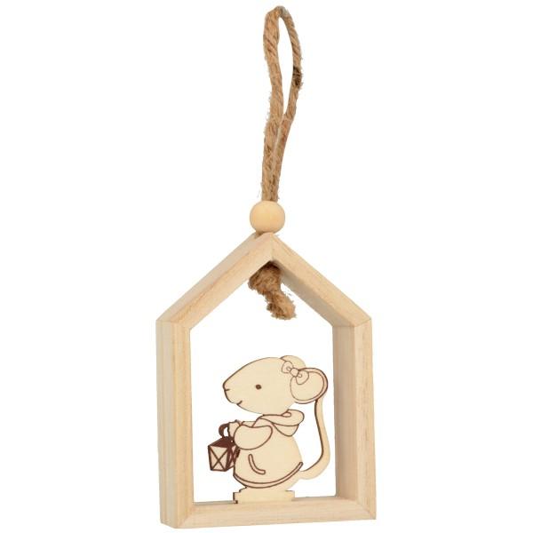 Déco de Noël en bois à décorer - Souris - 10 x 7 x 2,5 cm - 3 pcs - Photo n°2