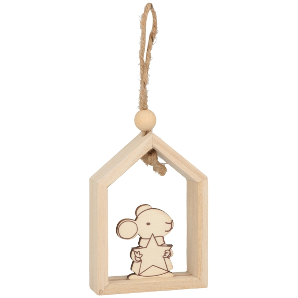 Déco de Noël en bois à décorer - Souris - 10 x 7 x 2,5 cm - 3 pcs - Photo n°1