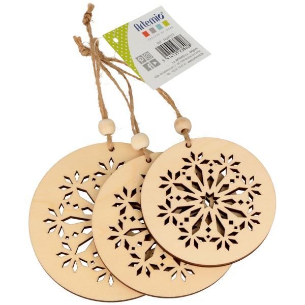 Formes en bois à suspendre - Boules de Noël ajourées - 3 pcs - Photo n°1