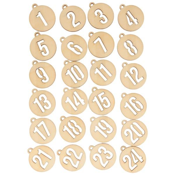 Chiffres en bois pour Calendrier de l'Avent - Boules de Noël - 3 cm - 24 pcs - Photo n°2