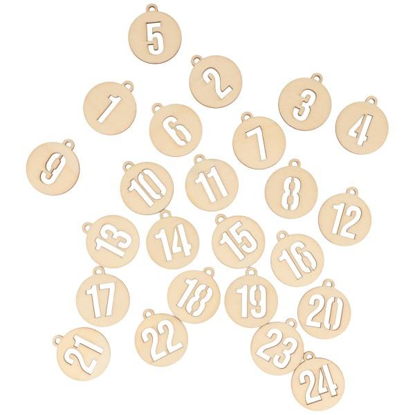 Chiffres en bois pour Calendrier de l'Avent - Boules de Noël - 3 cm - 24 pcs - Photo n°3