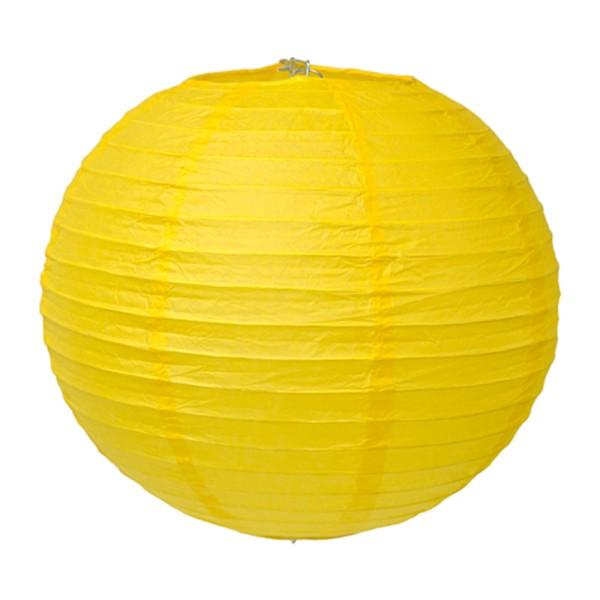 Lampion en papier de soir de 25 cm de diametre jaune - Photo n°1