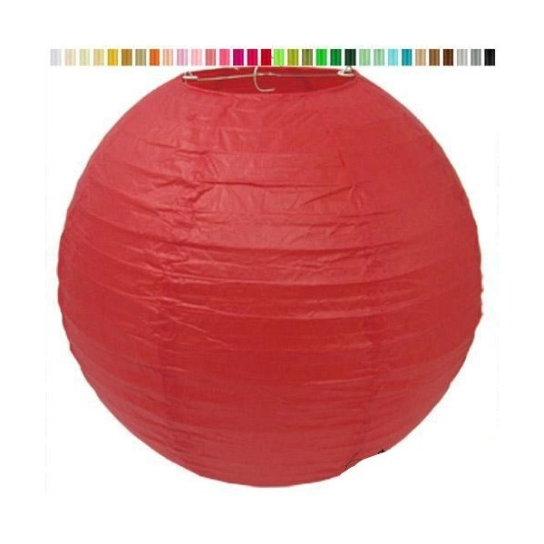 Lampion en papier de soir de 25 cm de diametre rouge - Photo n°1