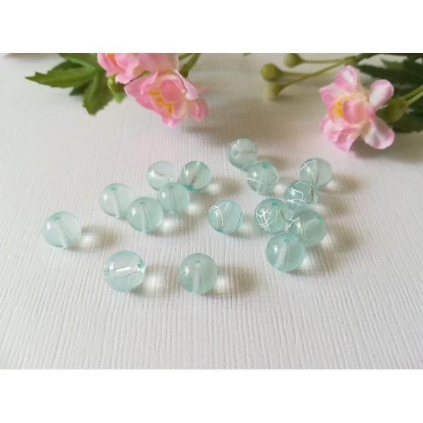 Perles en verre 8 mm bleu ciel tréfilé blanc x 50 - Photo n°2
