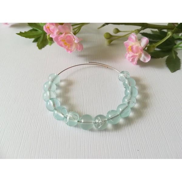 Perles en verre 8 mm bleu ciel tréfilé blanc x 50 - Photo n°1