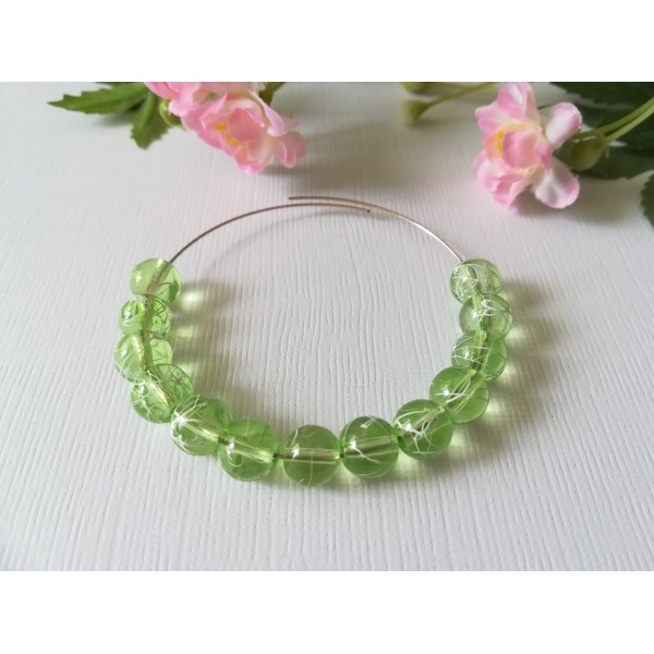 Perles en verre 8 mm vert clair tréfilé blanc x 20 - Photo n°1