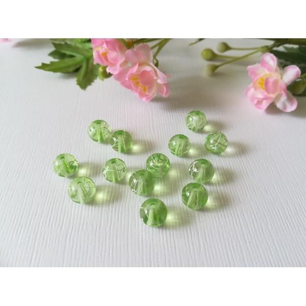Perles en verre 8 mm vert clair tréfilé blanc x 50 - Photo n°2