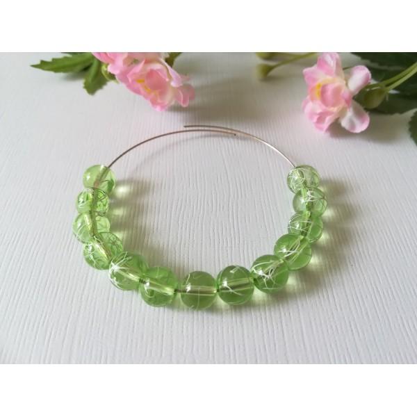 Perles en verre 8 mm vert clair tréfilé blanc x 50 - Photo n°1