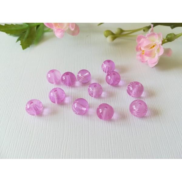 Perles en verre 8 mm lilas tréfilé blanc x 20 - Photo n°2