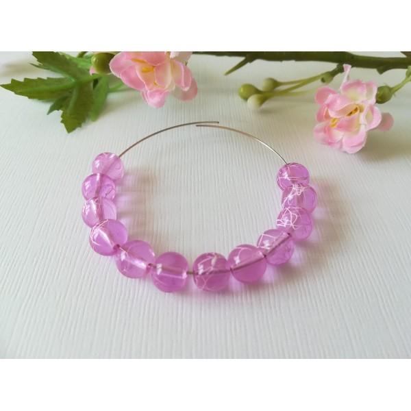 Perles en verre 8 mm lilas tréfilé blanc x 50 - Photo n°1