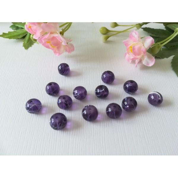 Perles en verre 8 mm violet foncé tréfilé blanc x 20 - Photo n°2