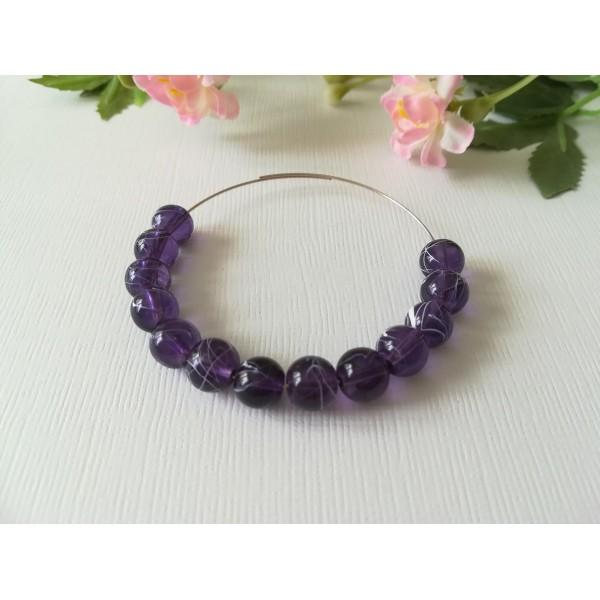 Perles en verre 8 mm violet foncé tréfilé blanc x 50 - Photo n°1