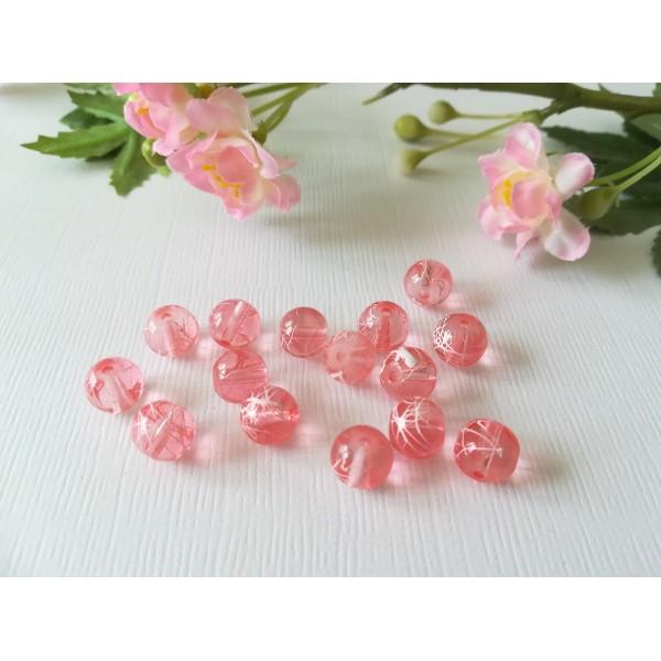 Perles en verre 8 mm saumon tréfilé blanc x 20 - Photo n°2