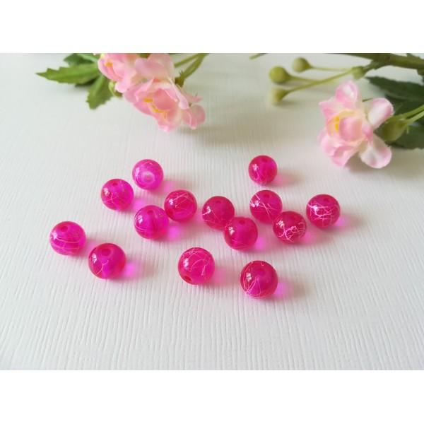 Perles en verre 8 mm fuchsia tréfilé rose x 50 - Photo n°2