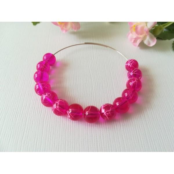 Perles en verre 8 mm fuchsia tréfilé rose x 50 - Photo n°1