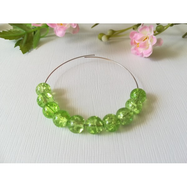 Perles en verre craquelé 8 mm vert clair x 20 - Photo n°1