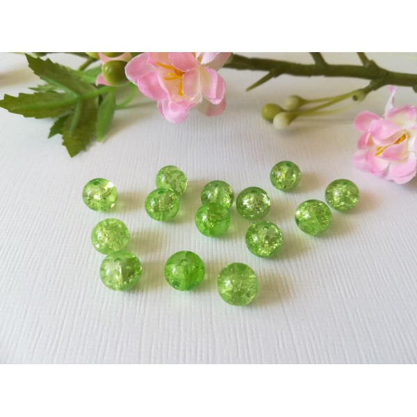 Perles en verre craquelé 8 mm vert clair x 50 - Photo n°2
