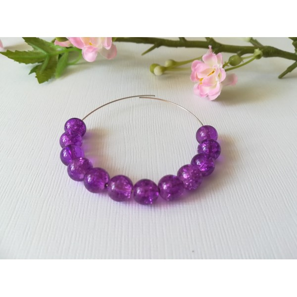 Perles en verre craquelé 8 mm violet x 20 - Photo n°1