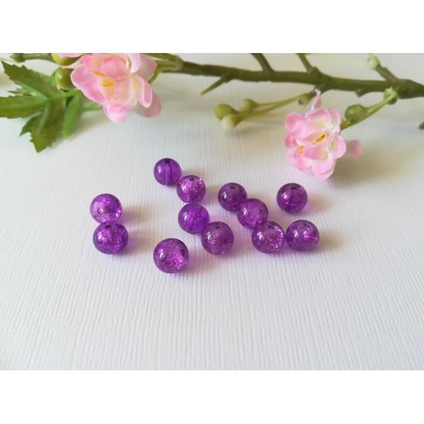 Perles en verre craquelé 8 mm violet x 50 - Photo n°2