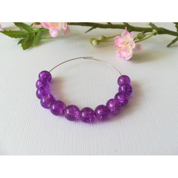 Perles en verre craquelé 8 mm violet x 50 - Photo n°1