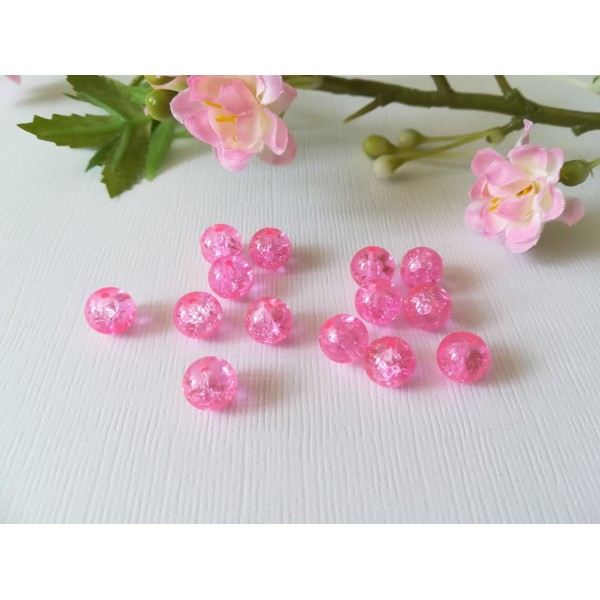 Perles en verre craquelé 8 mm rose x 20 - Photo n°2