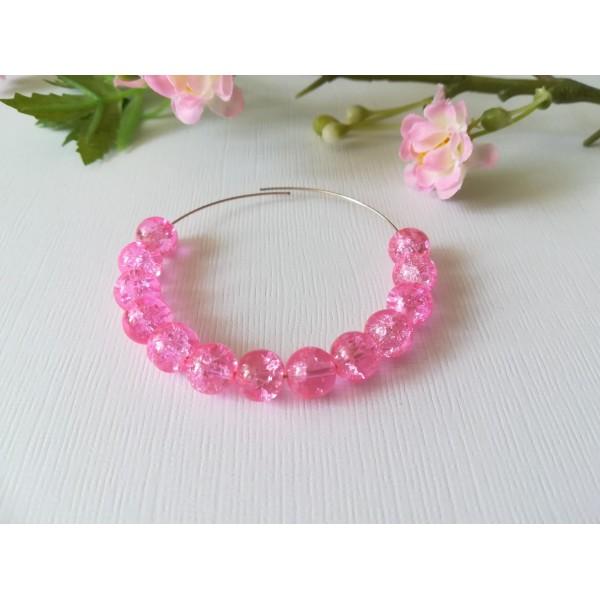 Perles en verre craquelé 8 mm rose x 50 - Photo n°1