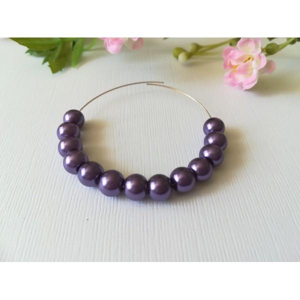 Perles en verre nacré 8 mm violet x 50 - Photo n°1