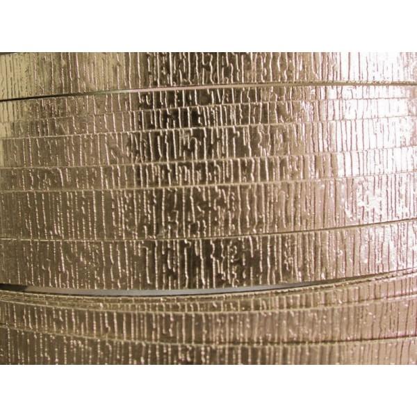 3 Mètres fil aluminium plat strié perle 30mm - Photo n°1