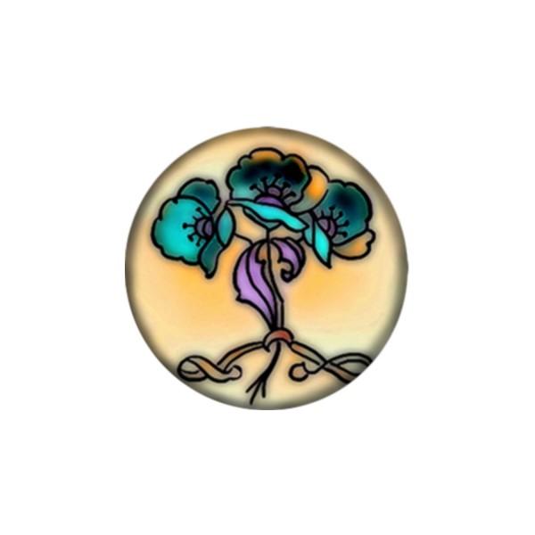 2 Cabochons 12 mm Verre Rond, Art Nouveau 4 - Photo n°1
