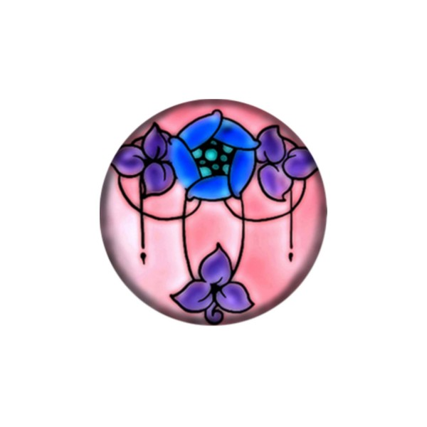 1 Cabochon 25 mm, Verre Rond, Art Nouveau 3 - Photo n°1