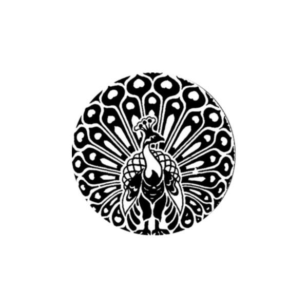 2 Cabochons 14 mm Verre Rond, Art Nouveau Noir et Blanc Paon 2 - Photo n°1