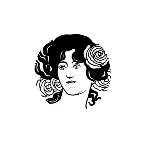 2 Cabochons 14 mm Verre Rond, Art Nouveau Noir et Blanc Femme 1 - Photo n°1