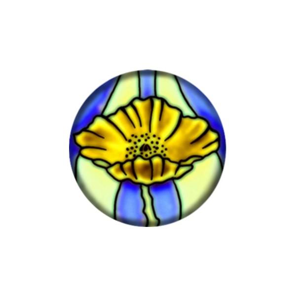 2 Cabochons 14 mm Verre Rond, Art Nouveau 7 - Photo n°1