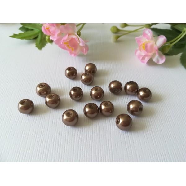 Perles en verre nacré 8 mm brun x 50 - Photo n°2