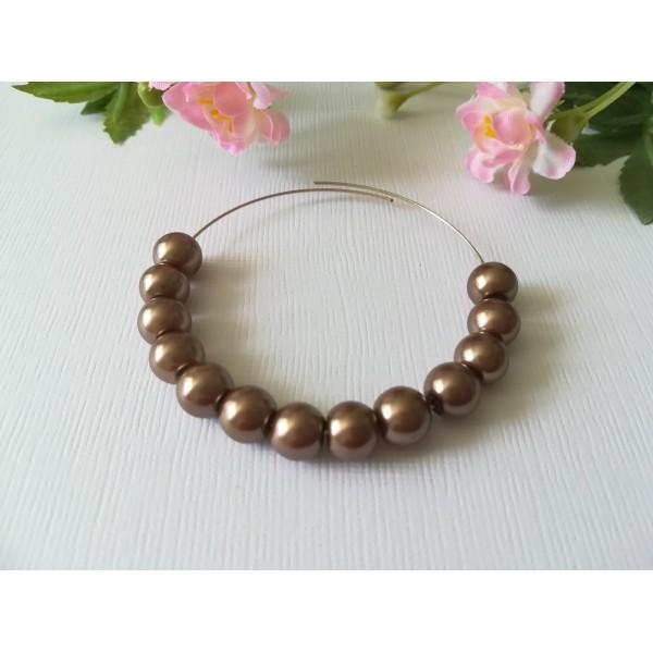 Perles en verre nacré 8 mm brun x 50 - Photo n°1