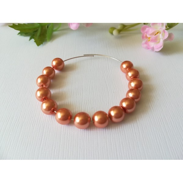 Perles en verre nacré 8 mm orange saumon x 20 - Photo n°1