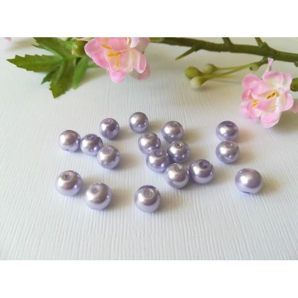 Perles en verre nacré 8 mm lilas x 20 - Photo n°2