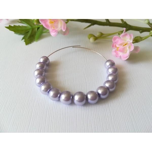Perles en verre nacré 8 mm lilas x 50 - Photo n°1