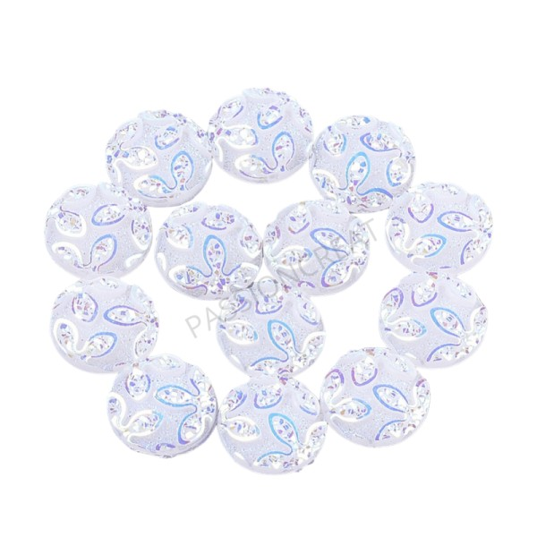 Fleurs Blanc 12mm 10 Cabochons - Photo n°1