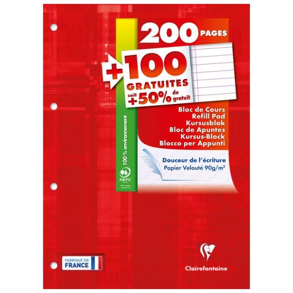 Bloc de cours 21x29,7 - 200 pages + 100 gratuites - Ligné + marge - Photo n°1
