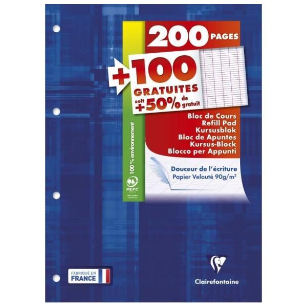 Bloc de cours A4 - 200 pages + 100 gratuites - Séyès - Photo n°1
