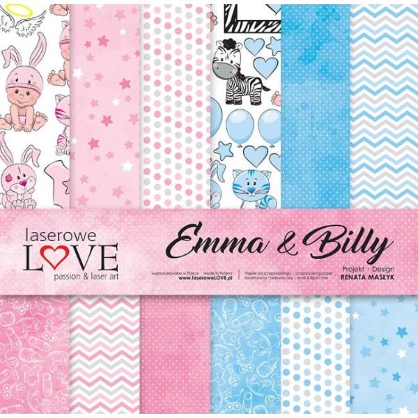 6 papiers imprimés scrapbooking 30 x 30 cm LASEROWE LOVE EMMA & BILLY - Photo n°1