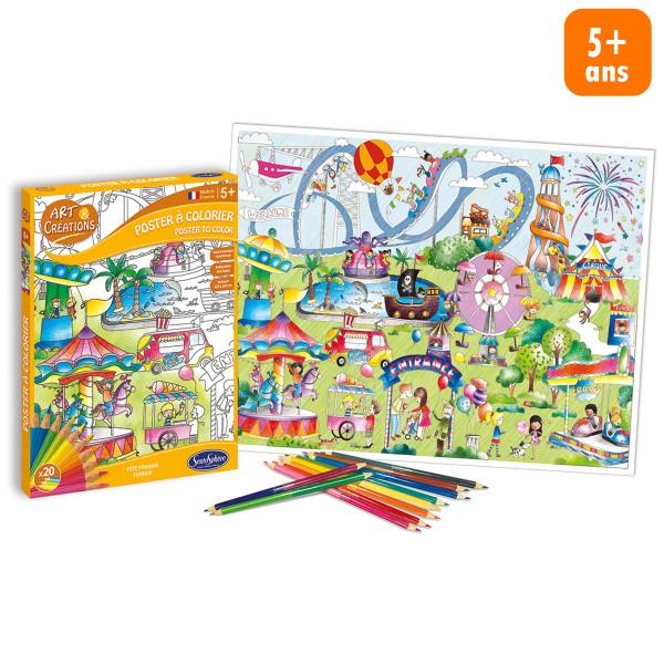 Kit créatif - Poster à colorier - Fête foraine - Photo n°1