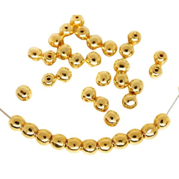 100pcs 24K Plaqué Or Ronde Druk Entretoise de Semences de Verre tchèque Perles de 3mm - Photo n°1