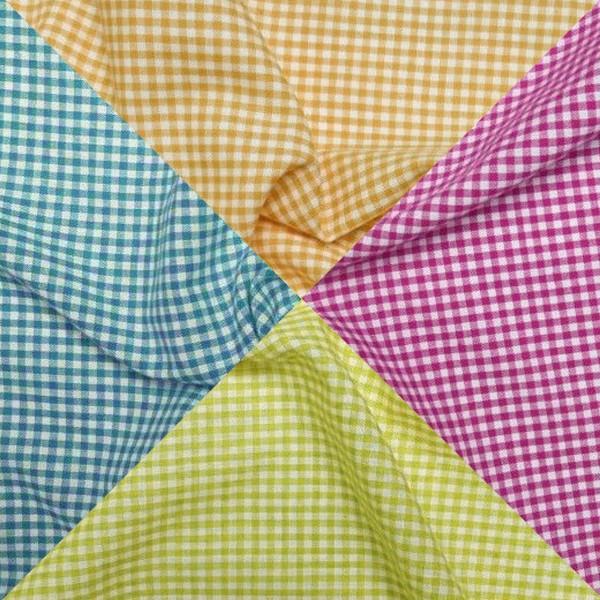 Tissu toile de coton Vichy - Petits carreaux 3 mm - Par 10 cm (sur mesure) - Photo n°1
