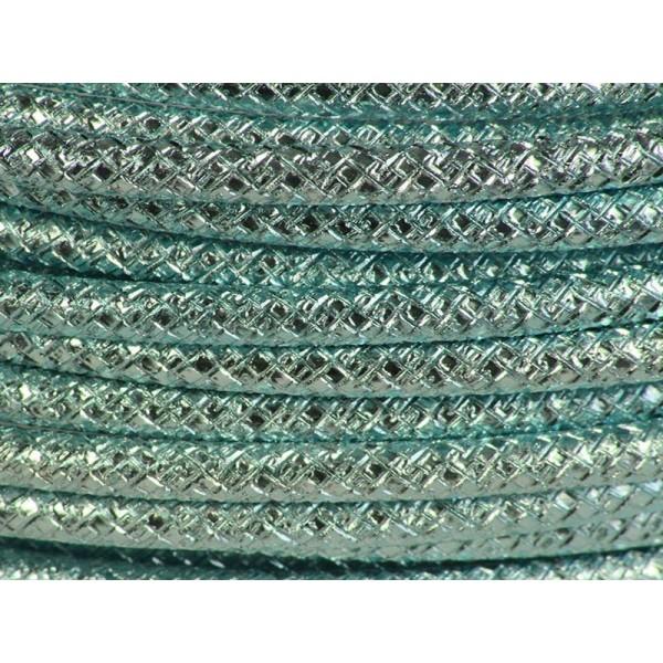 1 Mètre fil aluminium gravé couleur bleu glacé 4mm - Photo n°1