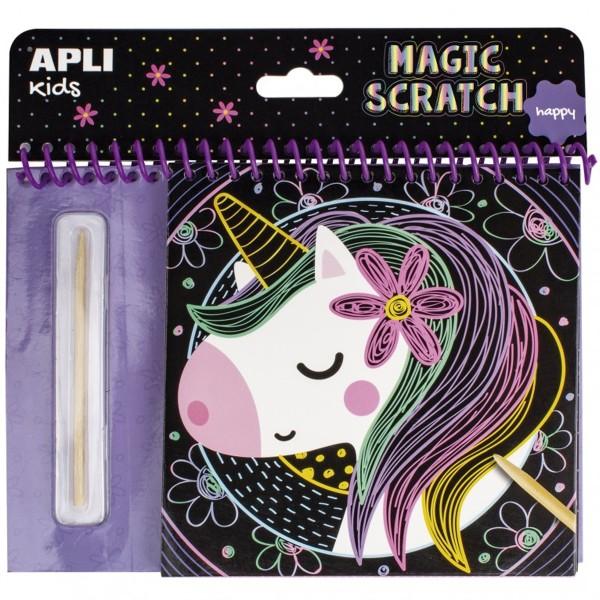 Livre cartes à gratter Magic Scratch APLI Kids - Licornes - 8 pcs - Photo n°1