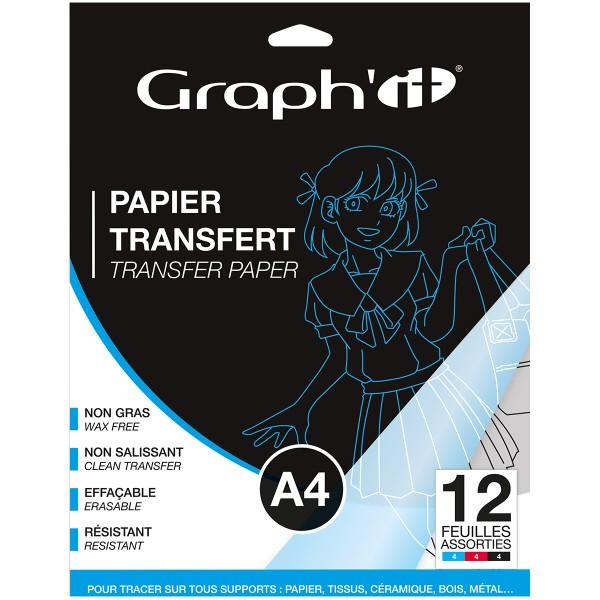 Papier transfert Graph'it - Noir, Rouge et Bleu - A4 - 12 feuilles - Photo n°1