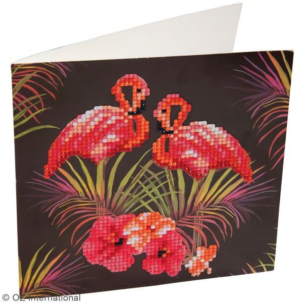 Kit Crystal Art - Carte broderie diamant - Flamant Rose - 18 x 18 cm - Photo n°2