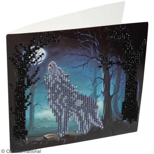 Kit Crystal Art - Carte broderie diamant - Loup - 18 x 18 cm - Photo n°2